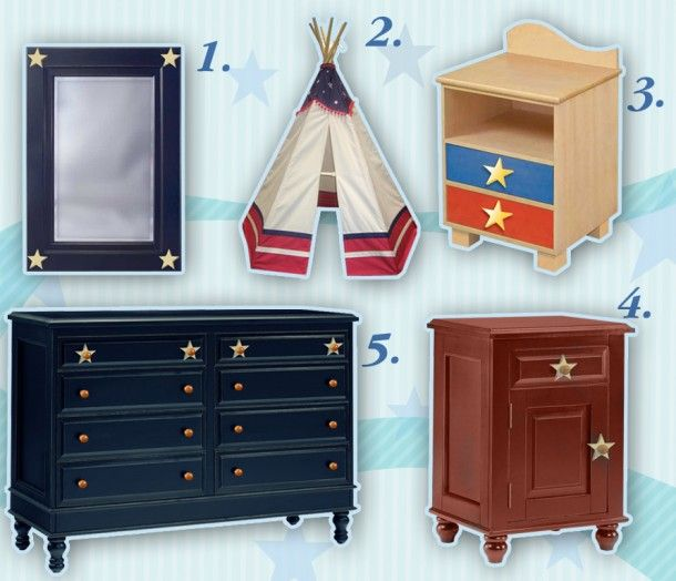 Saluting our troops with patriotic Red, White & Blue kids furniture including Alligator Enterprises, Room Magic & Dexton Kids.