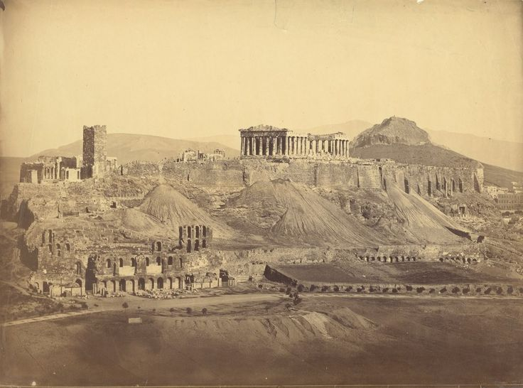 The Acropolis from the Southwest, Athens, 2 photos of the same year, 1865,