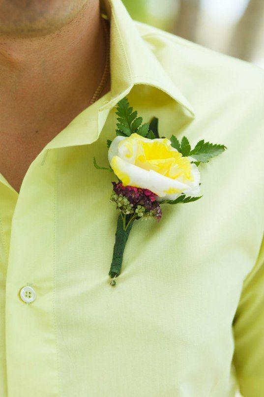 Свадьба в Доминикане (Weddings in the Dominican Republic); Бутоньерка для жениха (Boutonniere for the groom); Желтая роза (Yellow Rose)