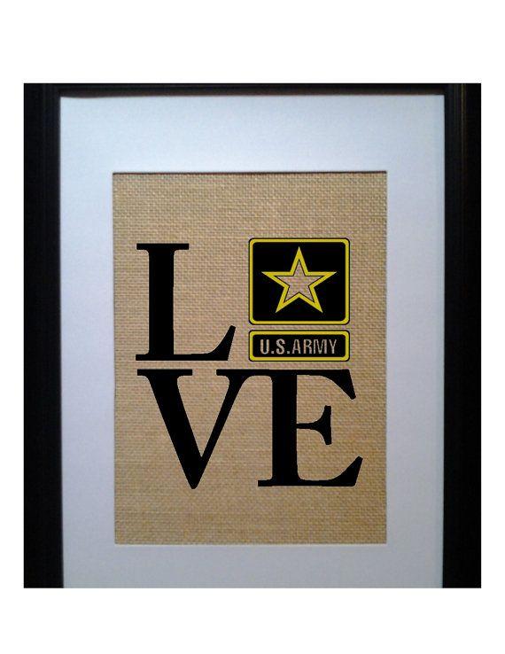 Love Army Military Burlap Print Army Gift Army by BeanTownBurlap