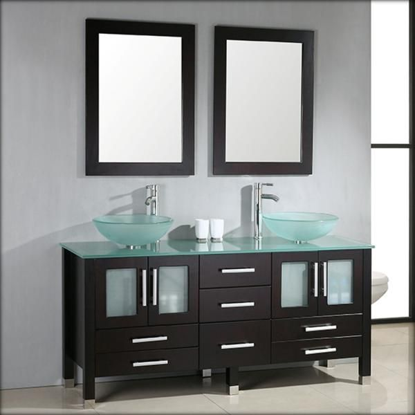 Photo Of Awesome Modern Black Wooden Vanity With Double White Glass Vessel Sink As Well As Two Sink Vanity Plus Bathroom Vanities With Double Sinks ideas