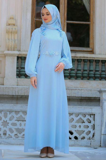 a206df4e15192 2018/2019 Yeni Sezon Günlük Elbise Koleksiyonu -Neva Style - Omuzları Çiçek  Detaylı Bebek Mavisi Tesettür Abiye Elbise 52553BM #tesetturi…