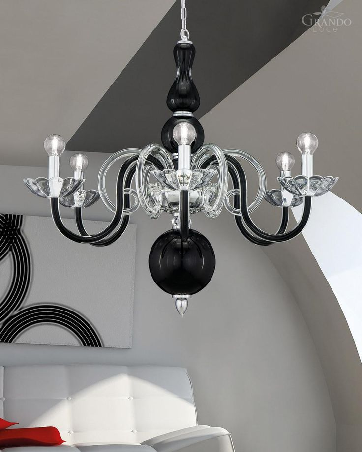 Chandeliers 118/6 CH chrome black crystal chandelier - GrandoLuce