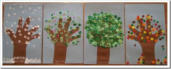 Four Seasons Pointillism Hand Art Craft for Kids | Kids - Unit Study ...