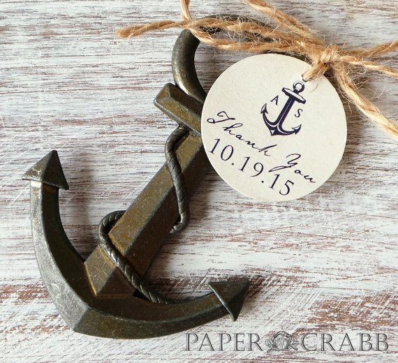 Anchor Bottle Opener Favor w/ Personalized Tag 25qty by PaperCrabb