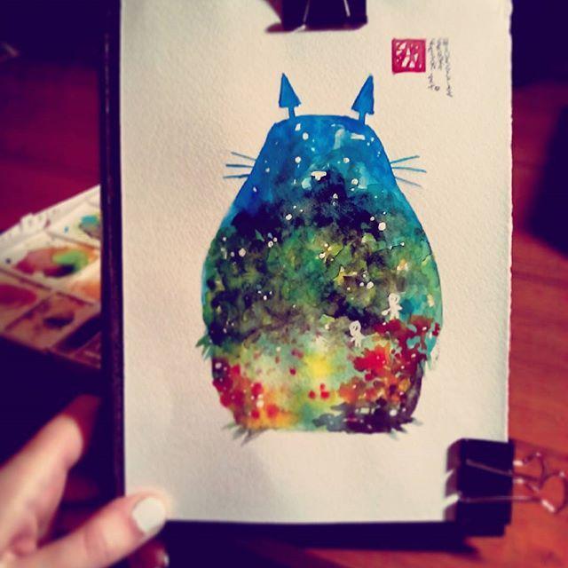 #totoro #watercolor #painting :3