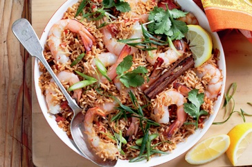 Prawn, tomato and chilli pilaf   This seafood pilaf dish can be served up in half an hour - just have your ingredients and kitchen tools ready!
