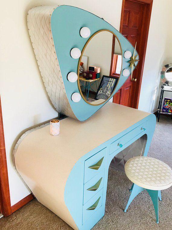 Atomic Age Retro Vanity In 2019 Vintage Bedroom Decor