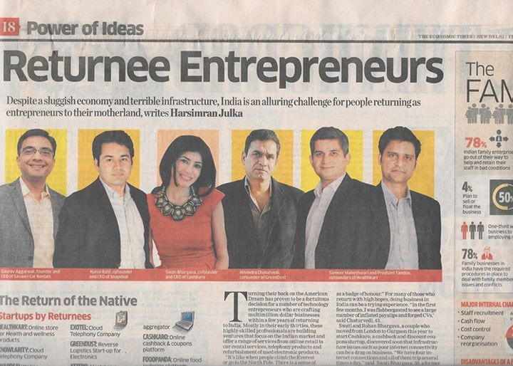 Did you catch Cashkaro in The Economic Times? Read all about how successful Indian entrepreneurs are bringing their businesses to India.