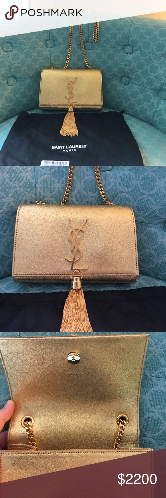 Brand new Yves Saint Laurent gold handbag Brand new with original tags and dust bag. Monogram small calf leather shoulder bag. Width 6.7 in, height 4.7 in, depth 1.6 in, strap 23.2 in. This bag has been sold out online! Yves Saint Laurent Bags Shoulder Bags