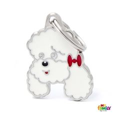 Show details for White Poodle Dog Tag Free engraving  www.myfamily.it