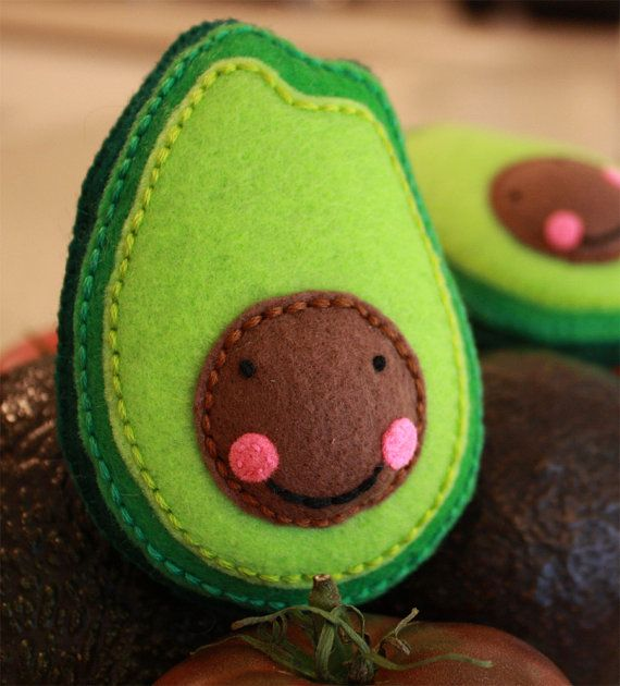Avocado embroidered pretend felt food. Cute idea!