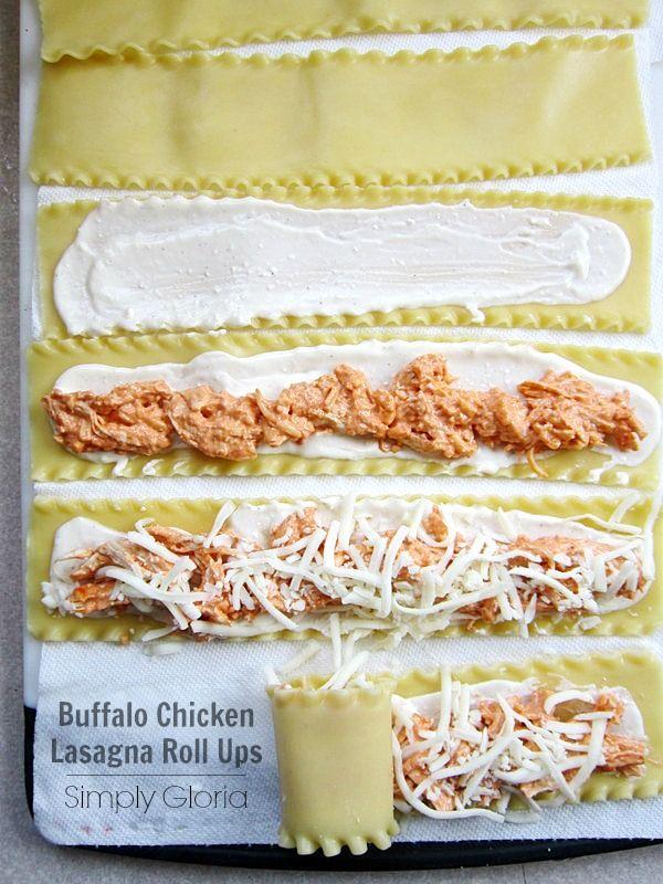Buffalo Chicken Lasagna Roll Ups by SimplyGloria.com #lasagna