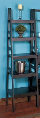 """Ladder Shelf Storage Black 5-tier Ladder Shelf by LTD. $39.75. Each shelf unit sold separately.. Black wooden Ladder Shelf Storage is a brilliant display idea for your home.. The 5-Tier Ladder Shelf offers roomy shelves to organize books, board games, DVDs and more. It also is ideal for collectibles, artwork, photos and plants.  Each shelf unit measures approx. 65"""" x 17"""" x 14"""". Combine multiple shelving to create a custom wall unit that perfectly suits your space or organ..."""