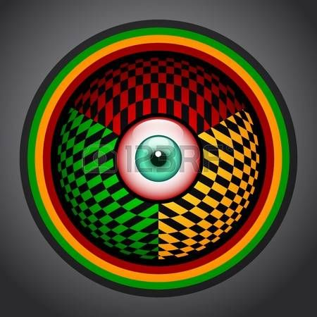 marijuana: Rasta red eye icon with green, yellow and red colors, rastafarian colorful emblem. Illustration