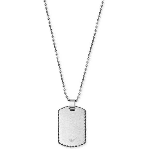 Emporio Armani Men's Stainless Steel Dog Tag Pendant Necklace EGS2074 ($44) ❤ liked on Polyvore featuring men's fashion, men's jewelry, men's necklaces, necklaces, men, no color, mens stainless steel necklace, mens chains, mens watches jewelry and mens chain necklace