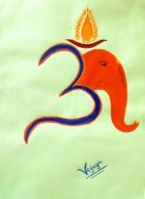 "Vijaya Sinha's creation ""Lucky Ganesha"". Painting. EmoTagged Joy"