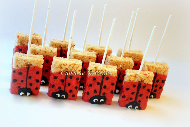 Ladybug Birthday Party Favors Dessert Chocolate dipped Rice KrispieTreats…