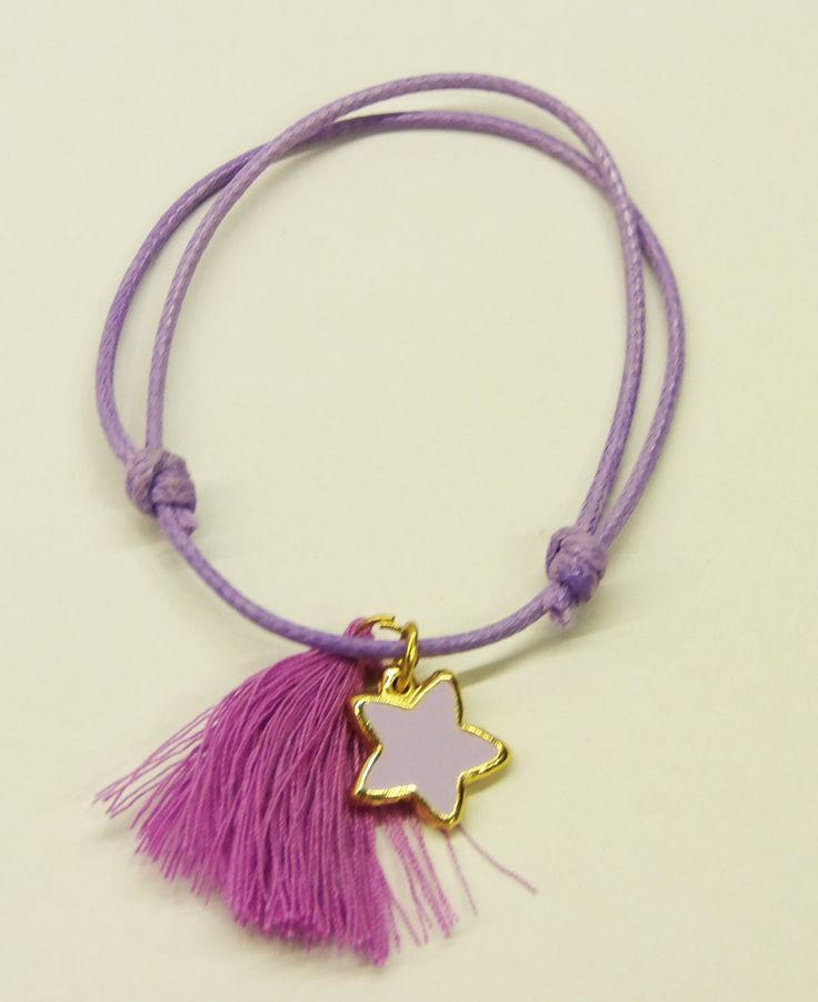 Handmade bracelet/purple cord/purple tassel/base metal starfish charm/gold plated/24 carats/purple enamel by CrownedCharm on Etsy