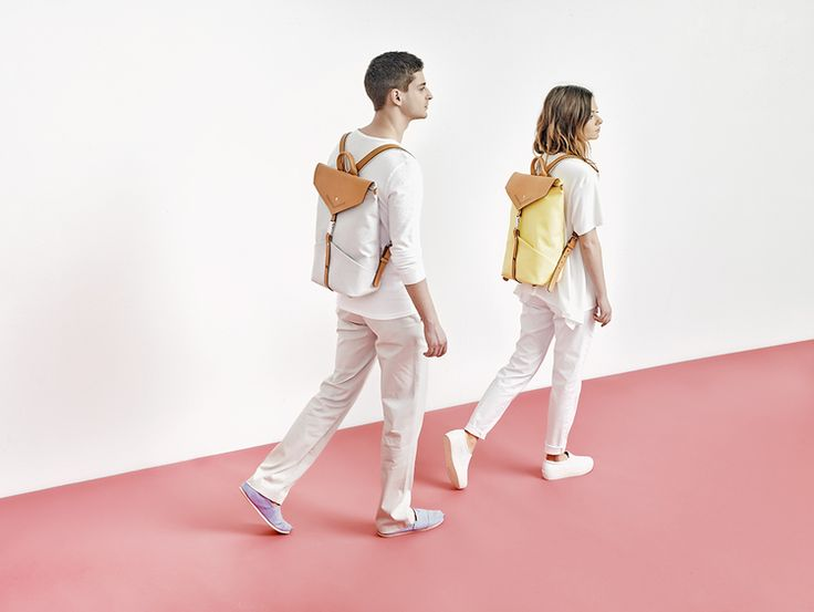 TheBétaVersion Spring/Summer 2015 campaign - unisex Ezra rucksack in grey marled and pastel yellow with laser cut details