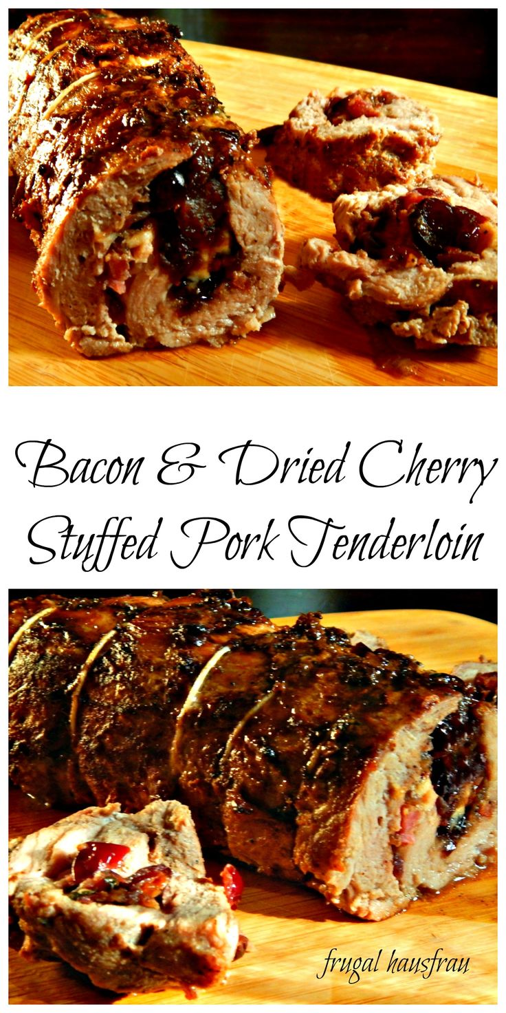 Pork Tenderloin rolled around a Bacon, Dried Cherry, Caramelized Onion Stuffing. Perfect for a fall Dinner Party!!