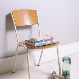 Children's Vintage Stackable Chairs With Metal Legs | blueticking.co.uk | Industrial Chairs | Warehouse Home Design Magazine