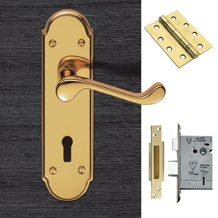 DL301 Garrick Lever Lock Door Polished Brass Handle Pack. #doorhandlepack #doorhandlelock #externaldoorhandle