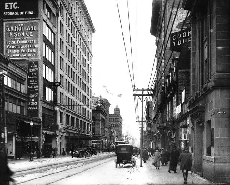 Ste-Catherine Street, corner Stanley, downtown Montreal...1915.