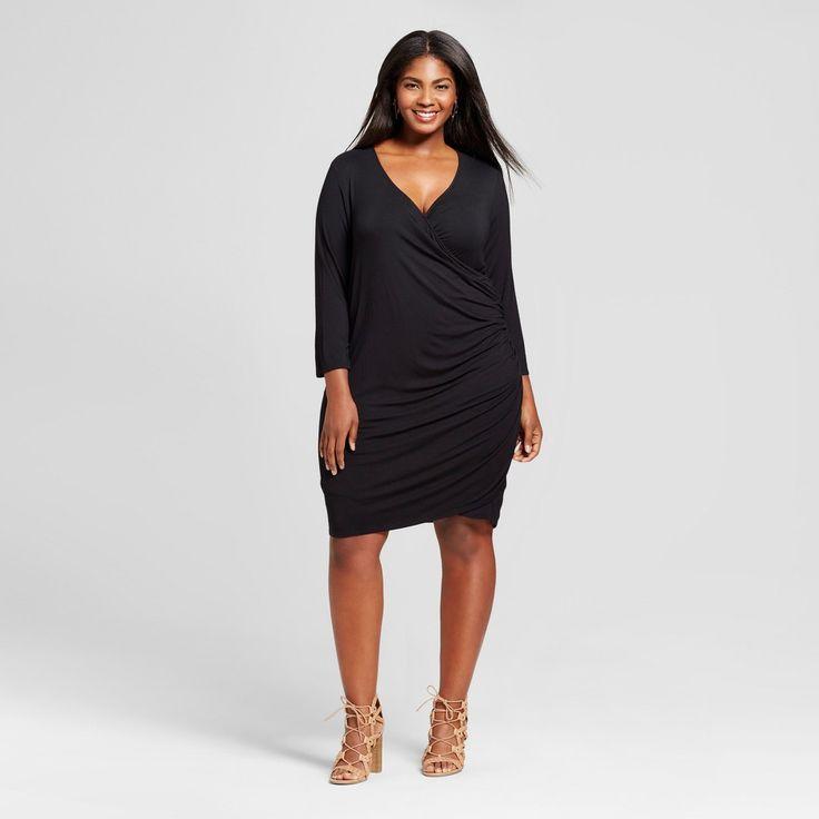 Women's Plus Size Knit Wrap Dress - Ava & Viv Black 2X