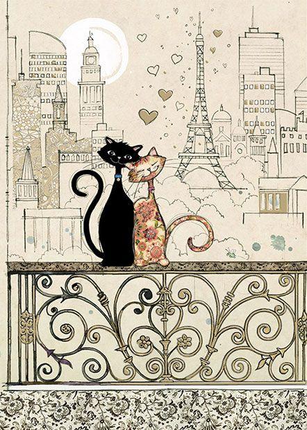 Romantic Cats - Bug Art greeting card