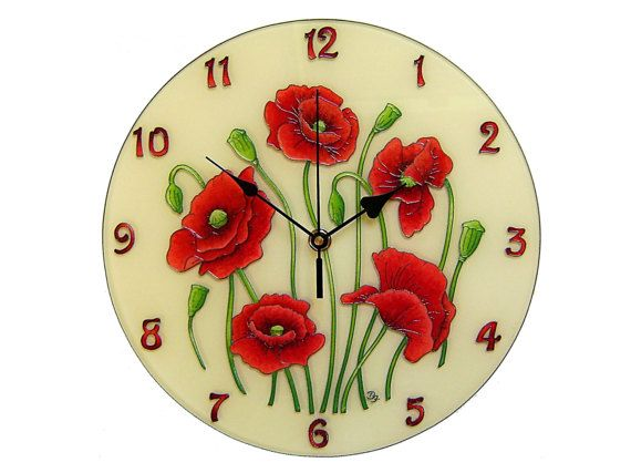 Poppies Wall Clock, Large, Silent, Vintage floral unique wall clock, Red wall clock, Poppies decoration, Vintage home decor
