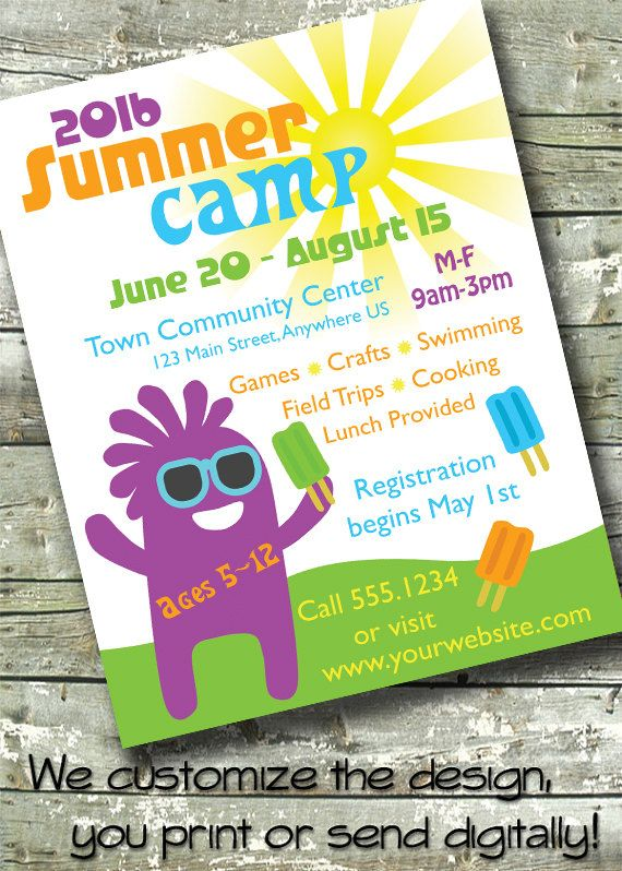 summer camp kids day camp 5x7 invite flyer 11x14 poster 300 dpi digital. Black Bedroom Furniture Sets. Home Design Ideas