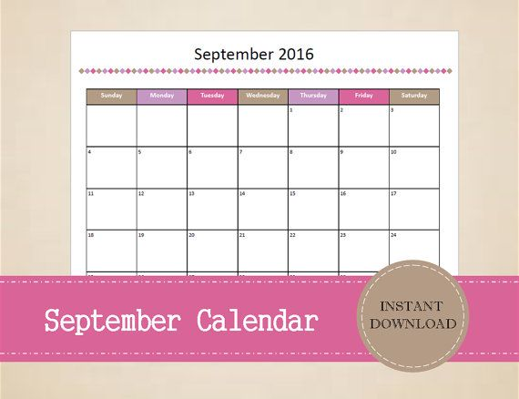 Printable September 2016 Calendar  Seasonal by MBucherConsulting