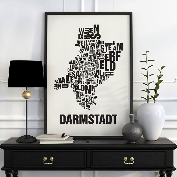 Darmstadt Buchstabenort Schwarz auf Naturweiß - Buchstabenorte