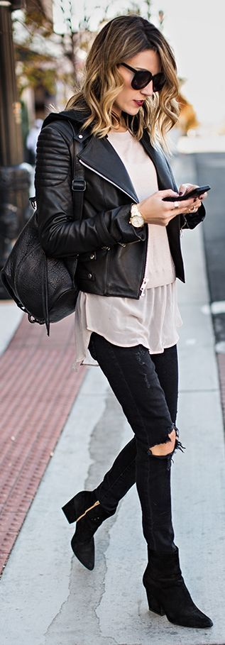 Hooded Leather Moto Jacket with Nude Silk Hem Sweater and Distressed Black…