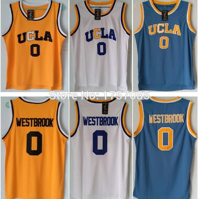 Sale UCLA 0# Russell Westbrook Crenshaw Blue White Home Road Mens Throwback Basketball Jerseys Stitched Embroidery Logos S-XXXL