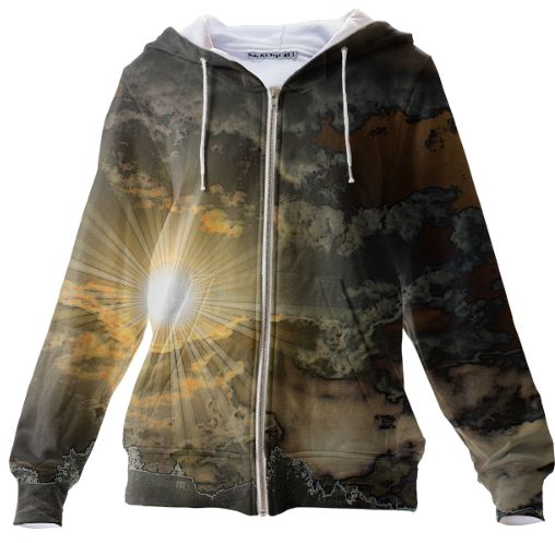 Day Break Zippered Hoodie  Let the sun shine through 100% Cotton