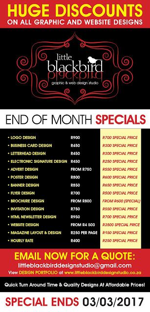 Little Blackbird Design Studio: Graphic and Website Design Special - HUGE DISCOUNT...