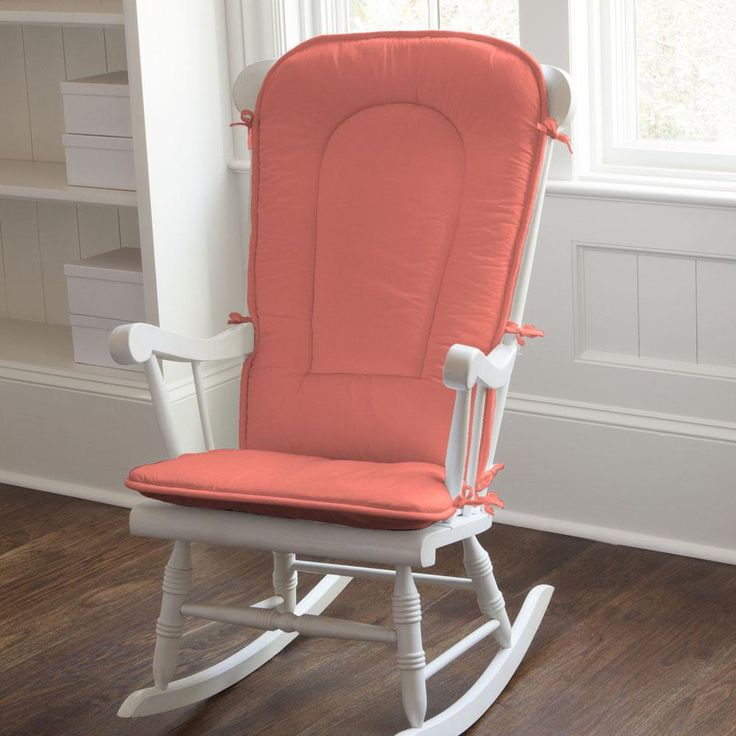 Rocking Chair Cushion in Solid Coral by Carousel Designs.