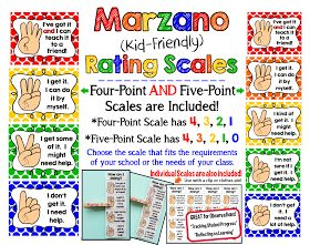 I've just uploaded a new kit to Teachers Pay Teachers . Marzano {Kid-Friendly} Rating Scales.  This bright 14-page kit includes 2 sep...