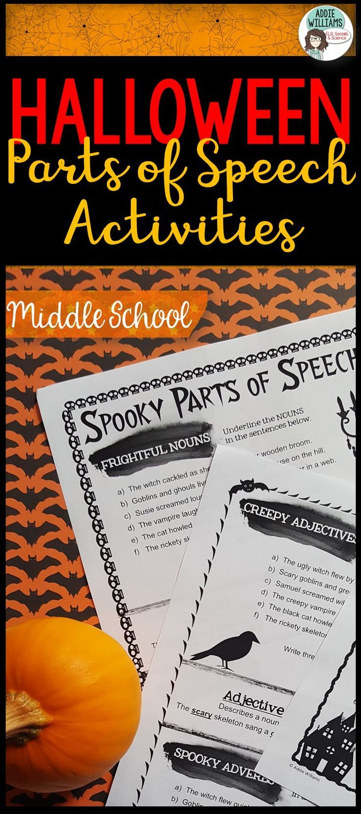 Review parts of speech with this fun and engaging Halloween themed resource designed with Middle School students in mind.  #halloween