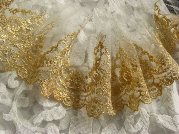 gold lace, golden embroidered lace trim, tulle lace, scollaped lace, vintage lace, antique lace, bridal lace, 2 yards