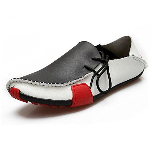 Ceyue Men's Casual Leather Loafers Breathable Driving Shoes-black-8.5