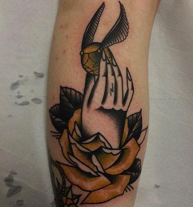#GoldenSnitch #tattoo by @hudsontattoo on @avalonrosetattoo. #Tattoos…