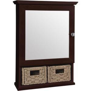 framed bathroom medicine cabinet with 2 baskets in java