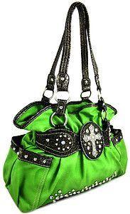 Western Rhinestone Cross Stud Bling Purse Handbag Lime Green | eBay Perfection