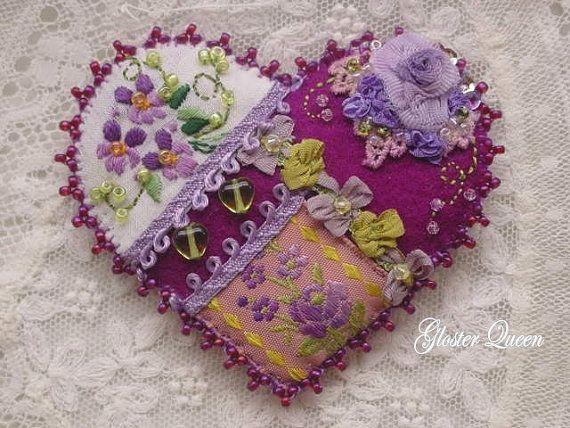 Crazy quilt heart - purple