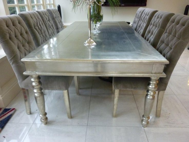 White metal dining table design pinterest - Silver dining table and chairs ...