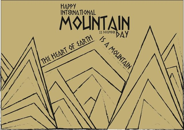 A postcard with International Mountain Celebration Day  A collegue task back in 2013  #postcard #design #illustration #line #sketch #world #mountain #day #celebration #forest #earth