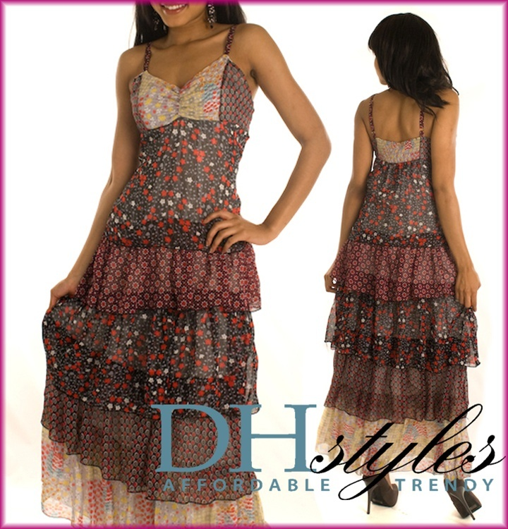 Tce-3241-Black-Red Chiffon Calico Print Hippie Bohemia Maxi Dress: Maxi Dresses, Chiffon Calico, Black Red, Prints Hippie, Red Chiffon, Bohemia Maxi, Black R Chiffon, Hippie Bohemia, Calico Prints